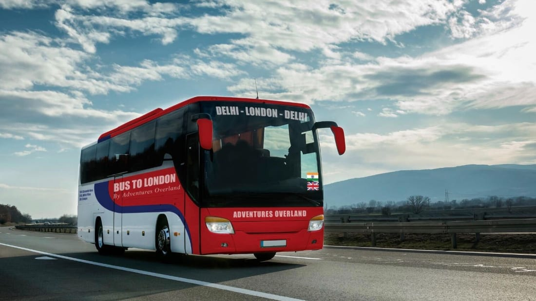 Travel from Delhi to London by bus in 70 days